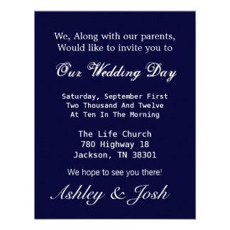 Dark Blue Wedding Invites