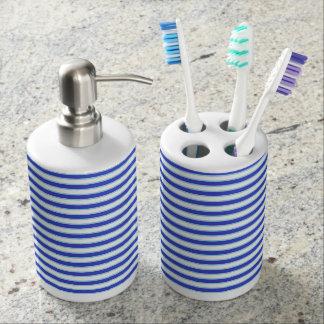 Dark Blue, White and Pastel Blue Stripes Soap Dispenser And Toothbrush Holder