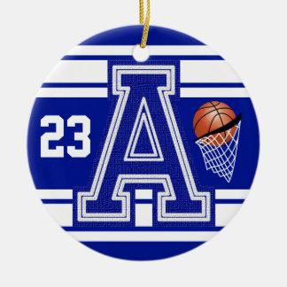 Dark Blue & White Basketball All Varsity Letters Round Ceramic Decoration