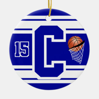Dark Blue & White Basketball Letter C Christmas Ornament