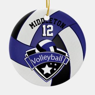 Dark Blue, White & Black Personalize Volleyball Round Ceramic Decoration