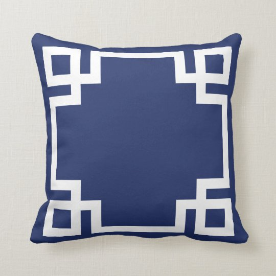 Dark Blue White Greek Key Cushion Zazzlecouk