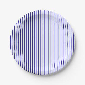Dark Blue White Pinstripe 7 Inch Paper Plate