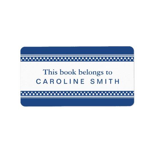 Dark blue, white polka dot borders bookplate book address label