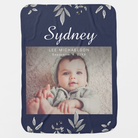 Dark Blue with Botanical and Photo Baby Blanket