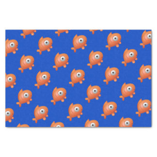 Dark Blue with Orange Fish Under the Sea Birthday Tissue Paper