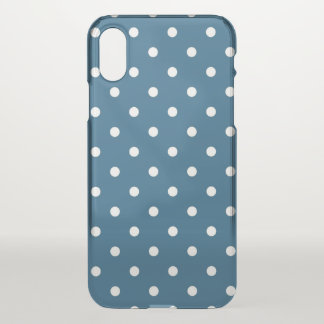 Dark Blue with Polka Dots iPhone X Case