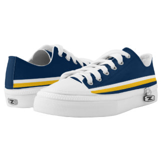 Dark Blue with White and Gold Trim Low Tops