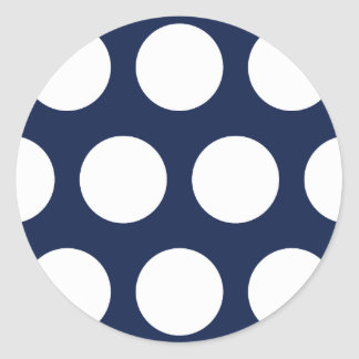 Dark Blue with White Dots Classic Round Sticker