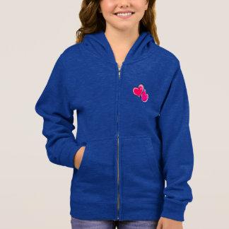 Dark Blue Zipper Hoodie with Bright Pink Hearts