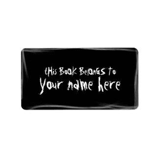 dark bookplate address label