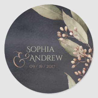 Dark botanical greenery vintage rustic monogram classic round sticker