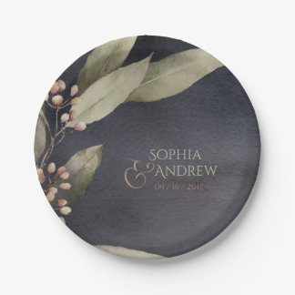Dark botanical greenery vintage rustic wedding paper plate