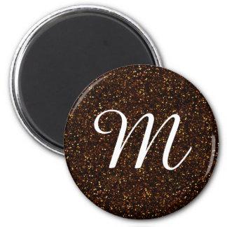 Dark Bronze Orange Glitter 2 Inch Round Magnet