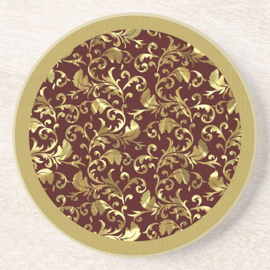 Dark Brown And Gold Vintage Damasks Coaster