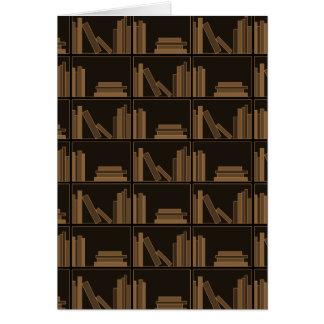 Dark Brown Books on Shelf Greeting Card