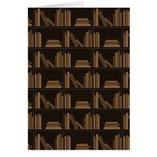 Dark Brown Books on Shelf. Greeting Card