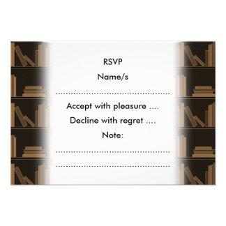 Dark Brown Books on Shelf Custom Announcements