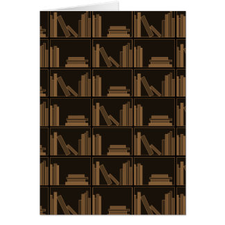 Dark Brown Books on Shelf. Greeting Card