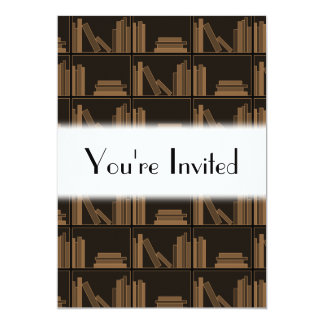 "Dark Brown Books on Shelf. 5"" X 7"" Invitation Card"
