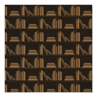 Dark Brown Books on Shelf. Personalized Announcements