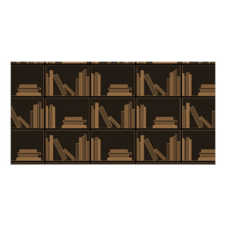 Dark Brown Books on Shelf. Custom Photo Card