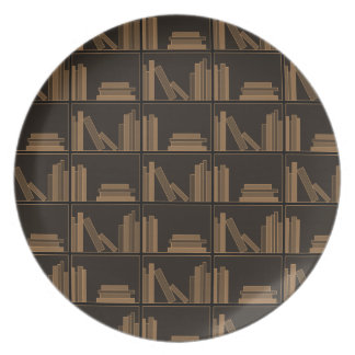 Dark Brown Books on Shelf. Plate