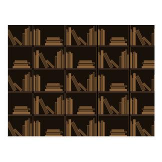 Dark Brown Books on Shelf Post Card