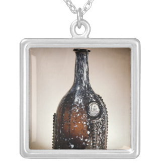 Dark brown bottle, probably Nailsea Silver Plated Necklace