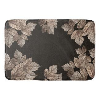 Dark Brown & Bronze Leaves Rustic Fall Glam Bath Mats