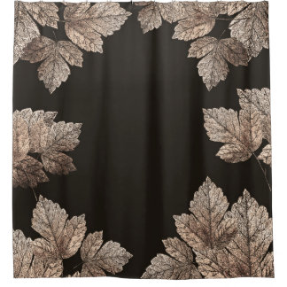 Dark Brown & Bronze Leaves Rustic Glam Fall Shower Curtain