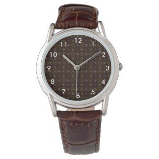 Dark brown geometric pattern men's watch