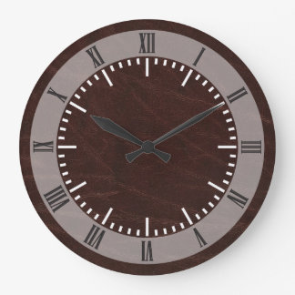 Dark Brown Leather Large Clock