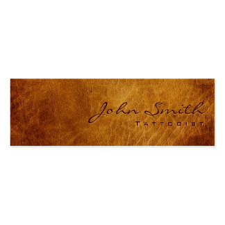 Dark Brown Leather Tattoo Art Business Card