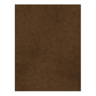 Dark Brown Leather Texture Pattern Background Postcard