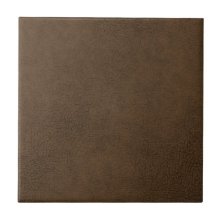 Dark Brown Leather Texture Pattern Background Small Square Tile
