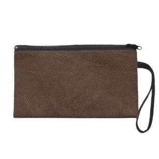 Dark brown leather texture wristlet clutches