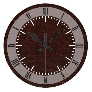 Dark Brown Leather Wall Clocks