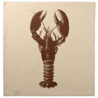 Dark Brown Lobster on Light Beige Napkin