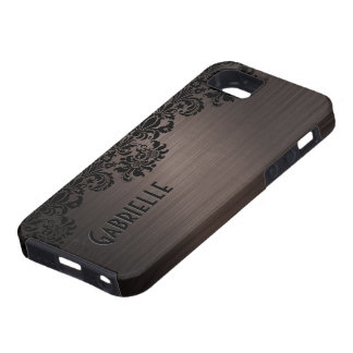 Dark Brown Metallic Look Pattern & Black Lace iPhone 5 Covers