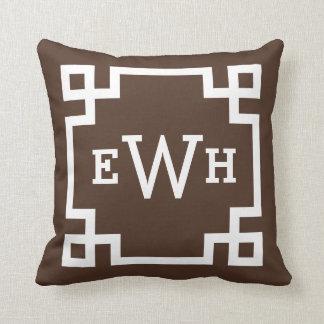 Dark Brown Monogram   Greek Key Cushion
