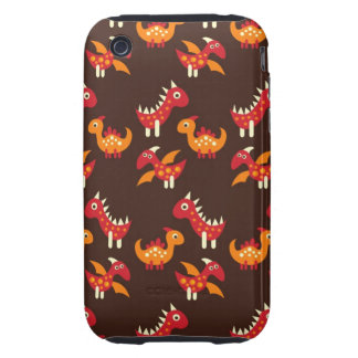 Dark Brown Red and Orange Spiked Dinosaurs Tough iPhone 3 Covers