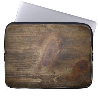 """Dark Brown Rustic Wood Look Background - 13"""" ONLY Laptop Sleeve"""