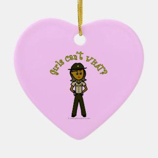 Dark Brown Sheriff Girl Ceramic Heart Decoration