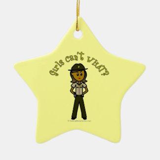 Dark Brown Sheriff Girl Ceramic Star Decoration