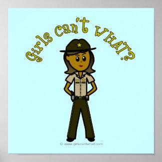 Dark Brown Sheriff Girl Posters