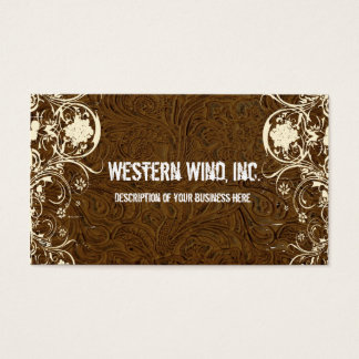 Dark Brown Tooled Leather and Lace Business Card