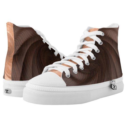 Dark Brown Wood Design High Top Shoes