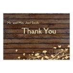 Dark Brown Wood flat thank you card with envelopes Announcement