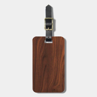 Dark Brown Wood Look Luggage Tag